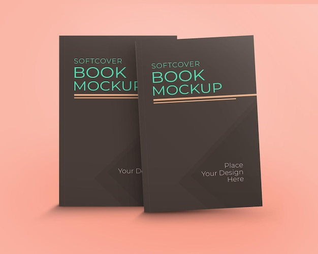 Maquette livre couverture souple deux livres debout vue frontale isolé