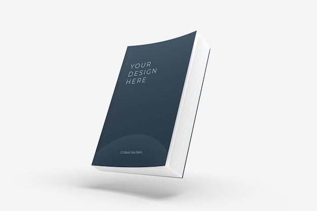 Maquette de livre à couverture souple flottante réaliste