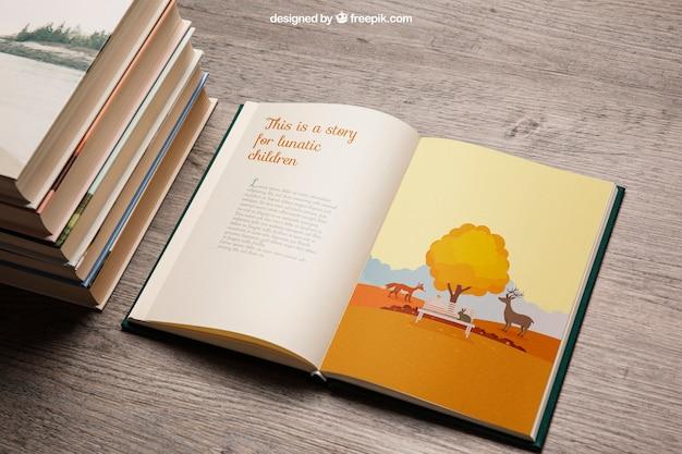 Maquette de livre avec pile
