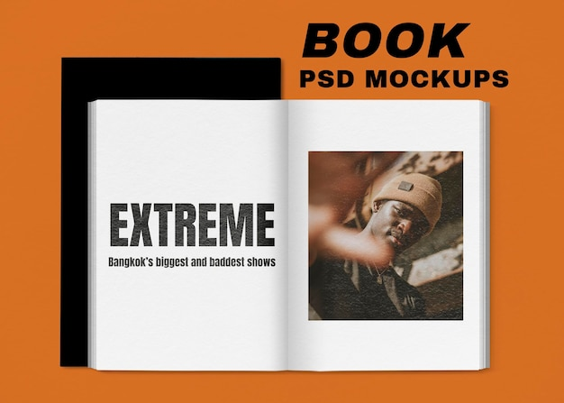 Maquette de livre psd avec illustration vintage, remixée à partir d'œuvres d'art