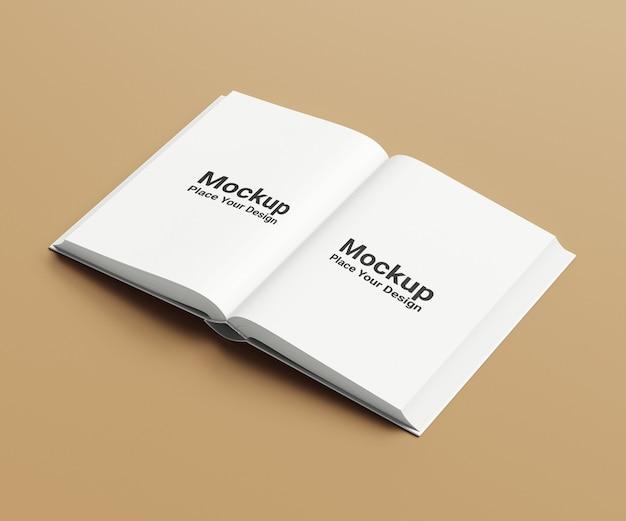 Maquette de livre relié à grand angle ouvert horizontal