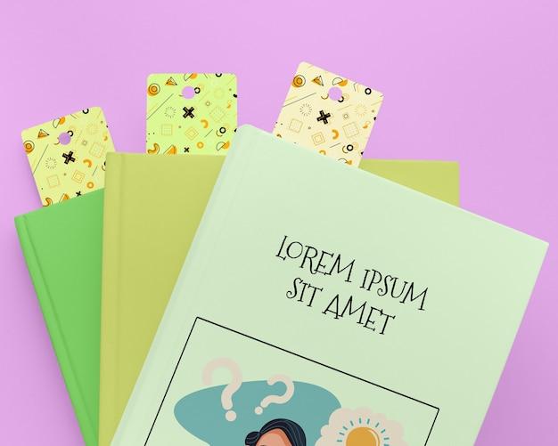 Maquette de livres avec des signets à plat