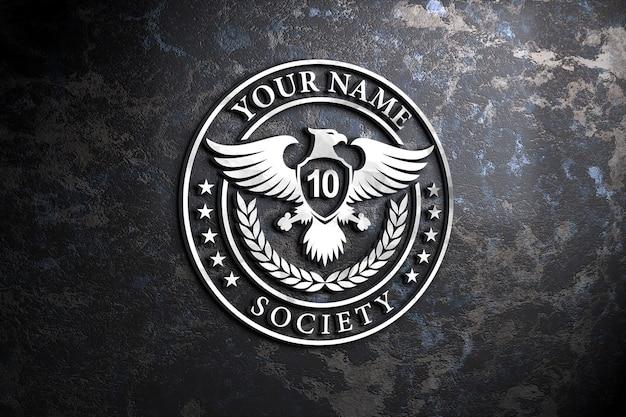 Maquette de logo 3d argent sur fond de mur ancien