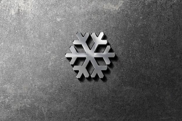 Maquette de logo 3d argentée