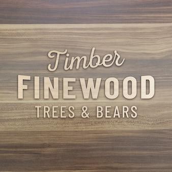 Maquette de logo 3d en bois sur un mur en bois foncé