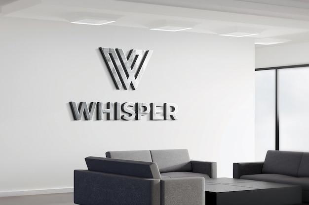 Maquette logo 3d bureau signe réaliste mur blanc