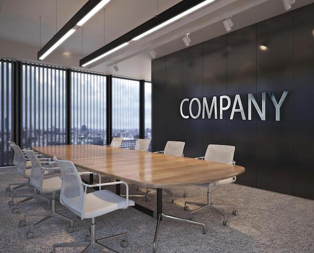 Maquette de logo 3d dans le bureau de la salle de réunion moderne
