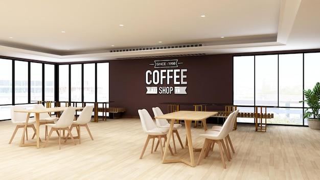 Maquette de logo 3d dans un café ou un restaurant avec un design intérieur moderne