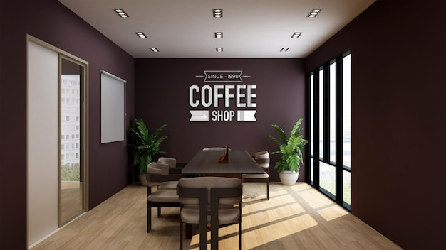 Maquette de logo 3d dans un café ou une salle de réunion de restaurant