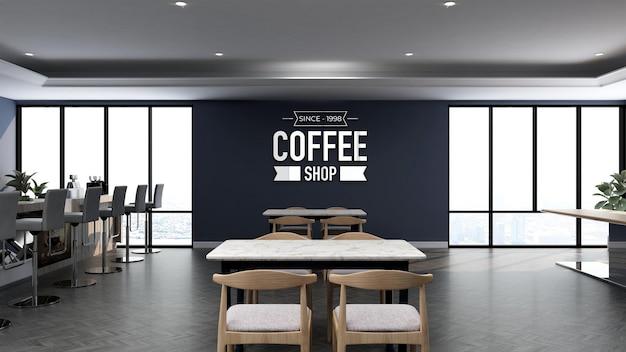 Maquette de logo 3d dans le café avec table en bois et mur bleu
