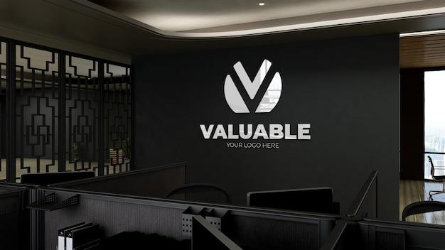 Maquette de logo 3d dans un espace de travail de bureau moderne