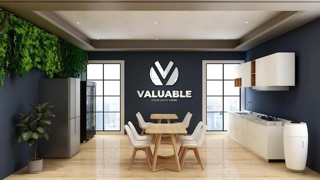 Maquette de logo 3d dans le garde-manger de bureau avec mur bleu