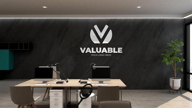 Maquette de logo 3d dans le lieu de travail de bureau mural