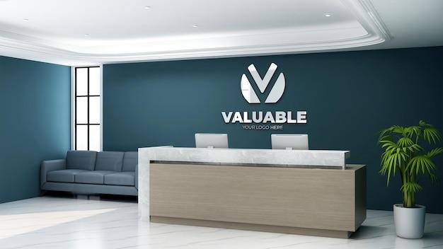 Maquette de logo 3d dans la réceptionniste du bureau avec un intérieur au design minimaliste et élégant