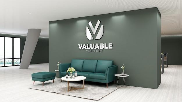 Maquette de logo 3d dans la salle d'attente du hall de bureau moderne
