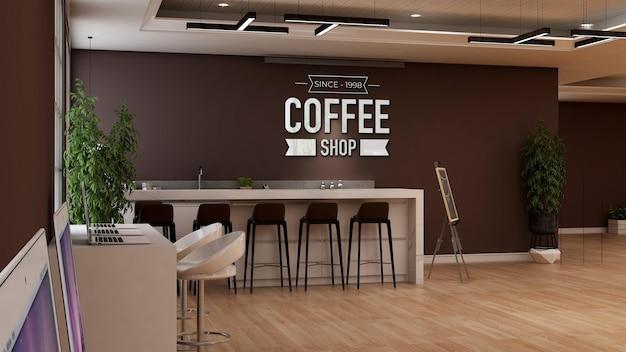 Maquette de logo 3d dans la salle du restaurant du bureau