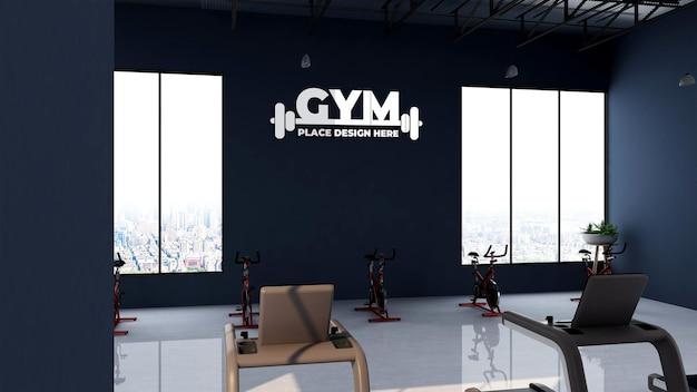 Maquette de logo 3d dans une salle de fitness ou de gym
