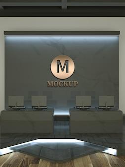 Maquette de logo 3d dans la salle de jeux