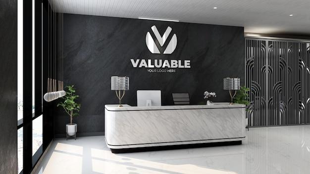 Maquette de logo 3d dans la salle de réception moderne du bureau de luxe