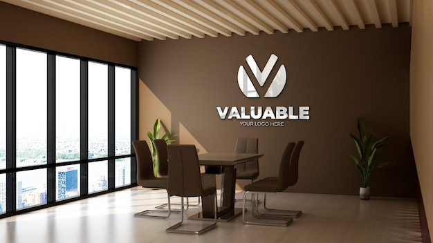 Maquette de logo 3d dans la salle de réunion du bureau avec mur marron