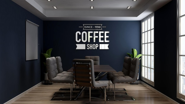 Maquette de logo 3d dans la salle de réunion du café ou du café