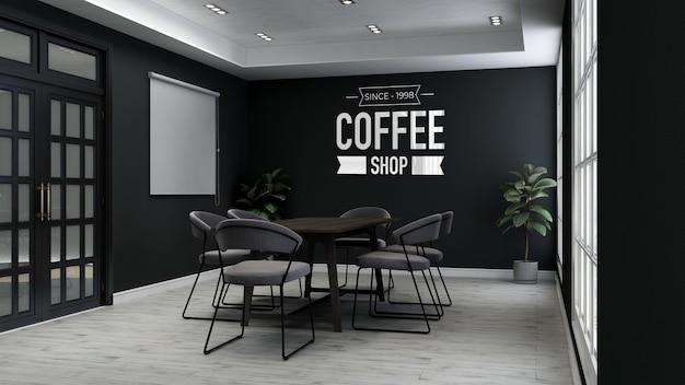 Maquette de logo 3d dans la salle de réunion du café
