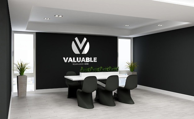 Maquette de logo 3d dans une salle de réunion minimaliste
