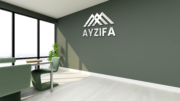 Maquette de logo 3d dans la salle de réunion avec mur vert
