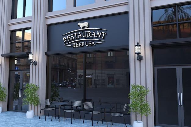 Maquette de logo 3d sur la façade du restaurant