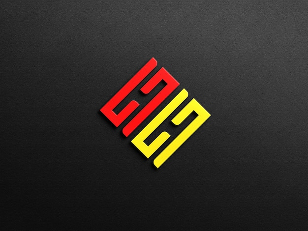 Maquette de logo 3d avec fond de mur sombre