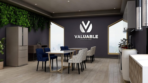 Maquette de logo 3d sur le garde-manger du bureau mural