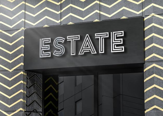 Maquette de logo 3d sur immeuble de bureaux en marbre noir rendu 3d