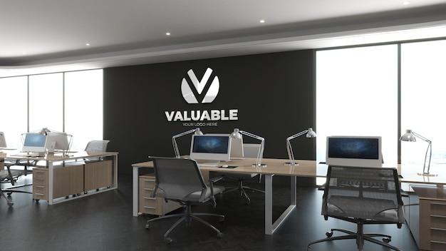 Maquette de logo 3d sur le lieu de travail de bureau