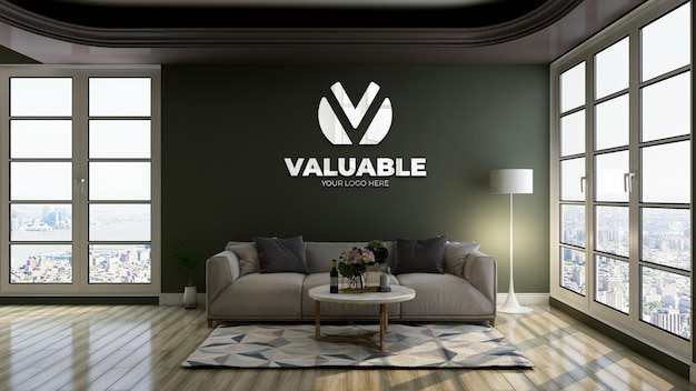 Maquette de logo 3d avec logo de réflexion dans un mur vert dans la salle d'attente du hall du bureau pour se détendre