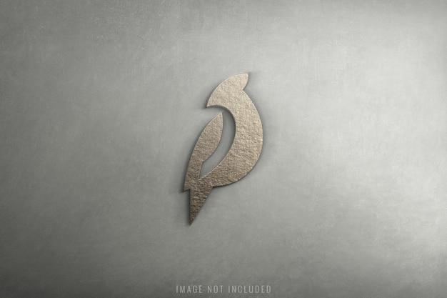 Maquette de logo 3d de luxe sur la texture du béton