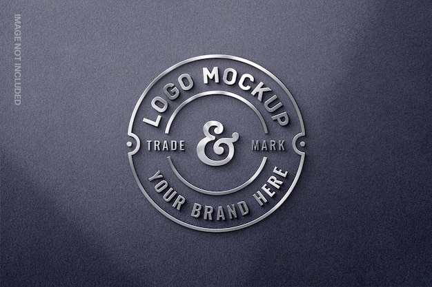 Maquette de logo 3d en métal argenté