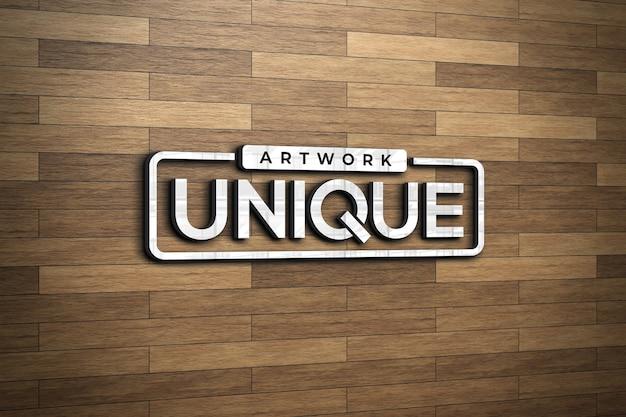 Maquette de logo 3d sur un mur en bois marron clair