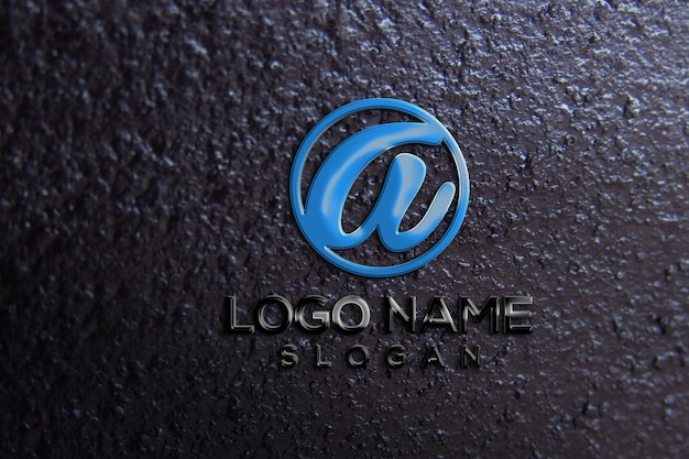 Maquette de logo 3d de mur de bureau
