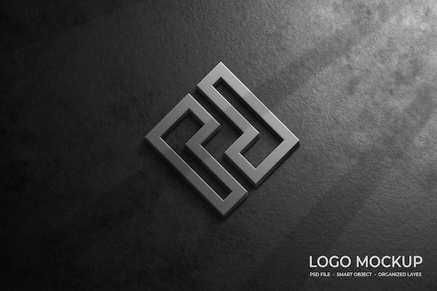Maquette de logo 3d sur mur gris