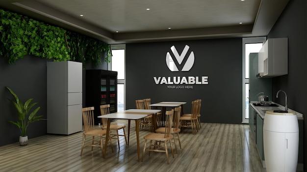 Maquette de logo 3d de mur de restaurant ou de garde-manger de bureau