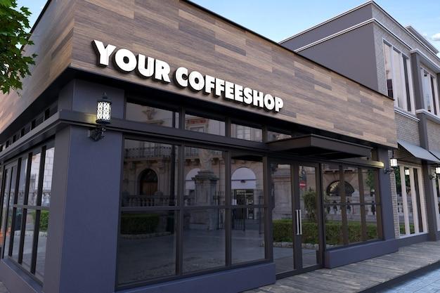 Maquette de logo 3d sur panneau de façade en bois