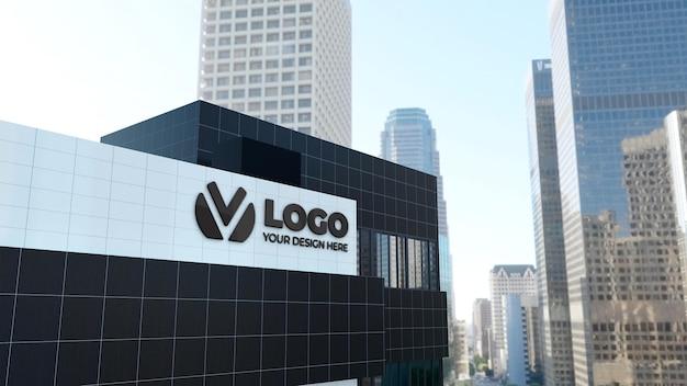 Maquette de logo 3d réaliste sur le bâtiment de l'entreprise
