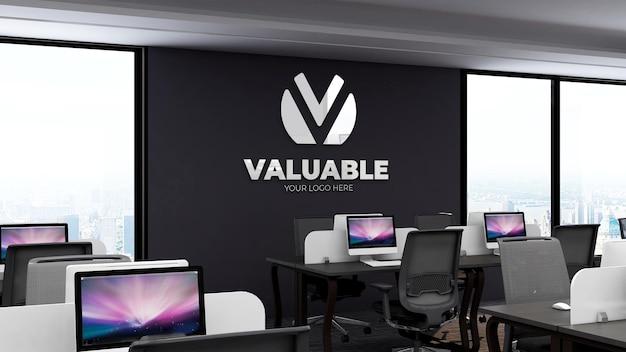 Maquette de logo 3d réaliste dans un lieu de travail de bureau avec bureau et lieu de travail