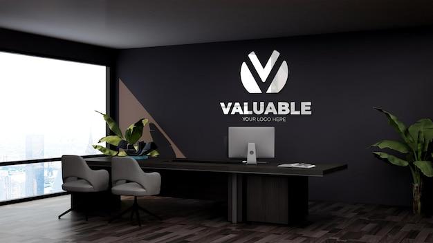 Maquette de logo 3d réaliste dans la salle du directeur des affaires de bureau
