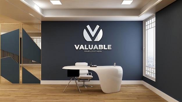 Maquette de logo 3d réaliste dans la salle de réception du bureau avec une table blanche et propre