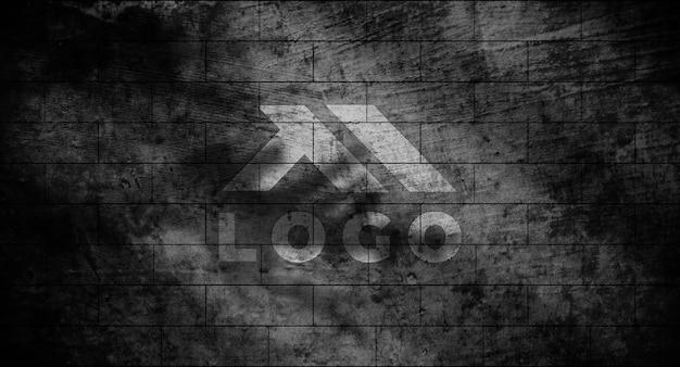 Maquette de logo 3d réaliste sur le mur