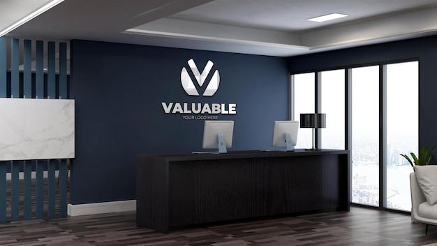 Maquette de logo 3d réaliste à la réception du bureau ou à la réceptionniste