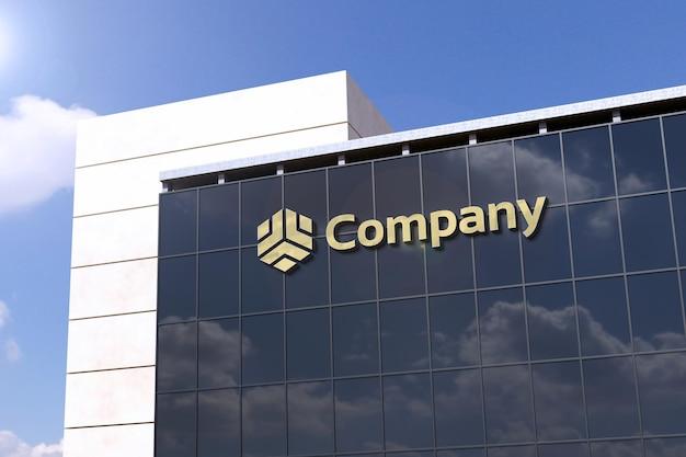 Maquette de logo 3d réaliste sur verre de bâtiment moderne