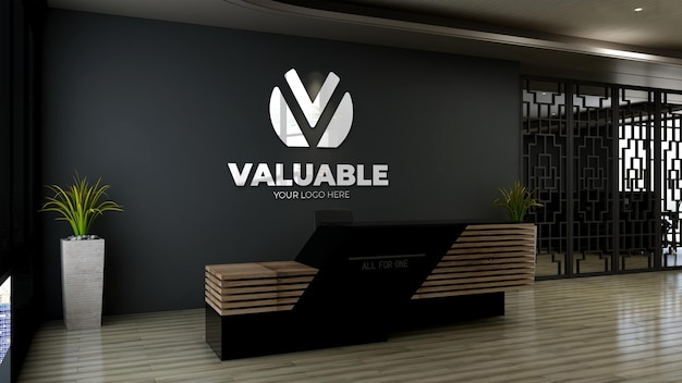 Maquette de logo 3d à la réception du bureau ou dans la salle de réception