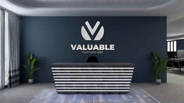 Maquette de logo 3d à la réception du bureau ou à la réception avec mur bleu marine
